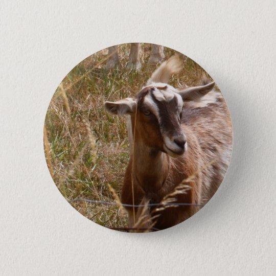 Farming goats 6 cm round badge