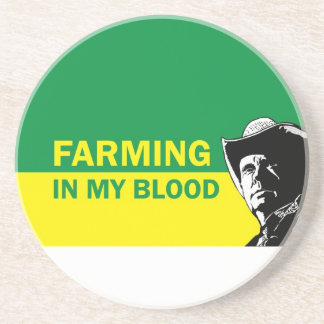 Farming in my blood, gift for a farmer or rancher beverage coaster