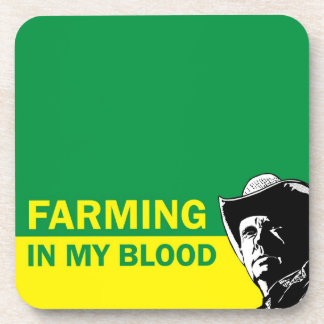 Farming in my blood, gift for a farmer or rancher beverage coasters