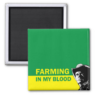 Farming in my blood, gift for a farmer or rancher square magnet