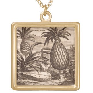 Farming Large Pineapples, illustration from a desc Gold Plated Necklace