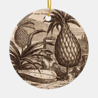 Farming Large Pineapples, illustration from a desc Round Ceramic Decoration