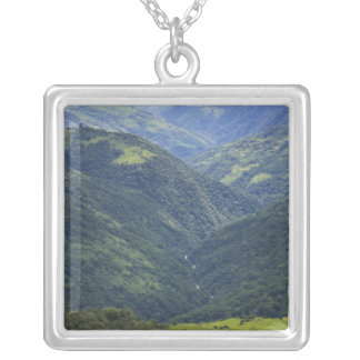 Farmlands and Himalaya forest in Mangdue valley Silver Plated Necklace