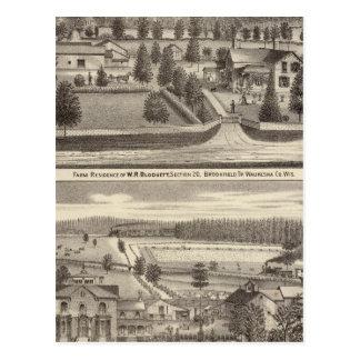 Farms and residences of WR Blodgett & GC Daubner Postcard