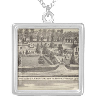 Farms and residences of WR Blodgett & GC Daubner Silver Plated Necklace