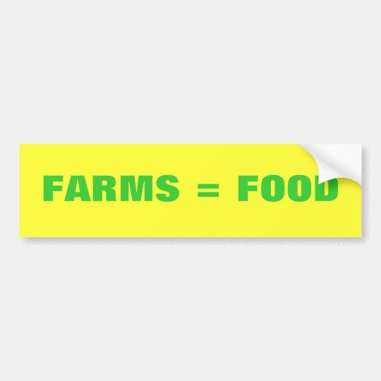 Farms = Food Bumper Sticker