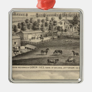 Farms of G Ives, Oakland, and A Wheeler, Pewaukee Christmas Ornament