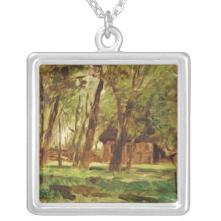 Farmstead under Trees Silver Plated Necklace