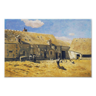 Farmyard at Chailly - Claude Monet Poster