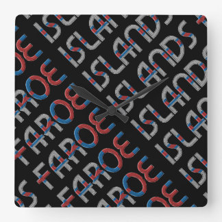 Faroe Islands Denmark Flag Colors Typography Square Wall Clock
