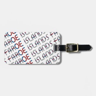 Faroe Islands Flag Colors Typography Pattern Luggage Tag