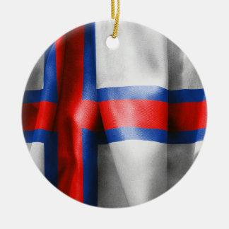 Faroe Islands Flag Round Christmas Ornament