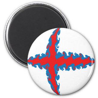 Faroe Islands Gnarly Flag 6 Cm Round Magnet