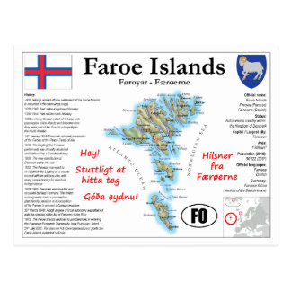 Faroe Islands Map Postcard