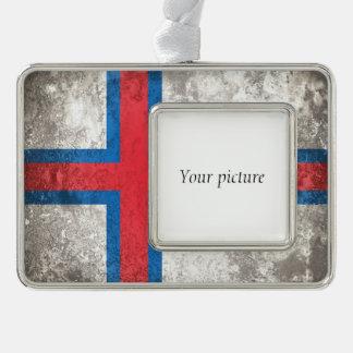 Faroe Islands Silver Plated Framed Ornament