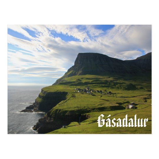 Faroese Village of Gásadalur: Postcard