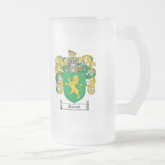 FARRELL FAMILY CREST -  FARRELL COAT OF ARMS FROSTED GLASS BEER MUG