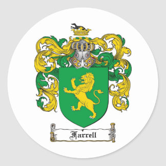 FARRELL FAMILY CREST -  FARRELL COAT OF ARMS ROUND STICKER