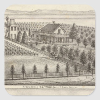 Farrelly, Mathews residences, farms Square Sticker