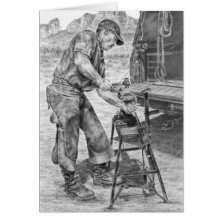 Farrier/Blacksmith Drawing by Kelli Swan Card