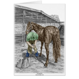 Farrier Blacksmith Trimming Horse Hoof Card