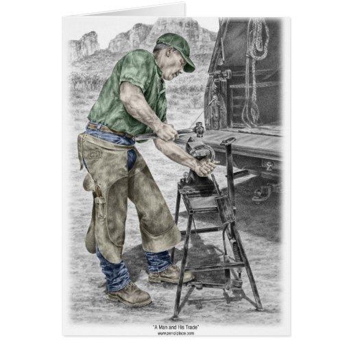 Farrier Blacksmith Using Anvil Greeting Cards