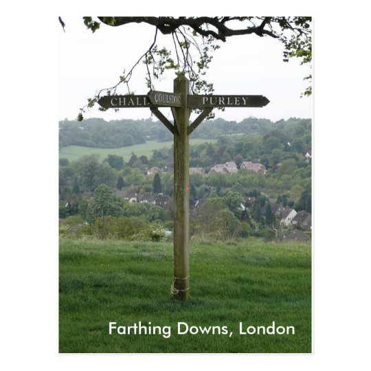 Farthing Downs Signpost, London Postcard