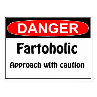 Farting Danger Fartoholic Postcard