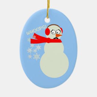 Farting Snowman Cartoon Christmas Ornament