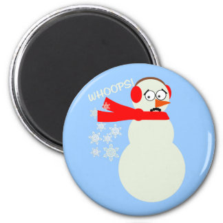 Farting Snowman Cartoon Magnet