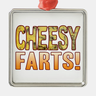 Farts Blue Cheesy Silver-Colored Square Decoration