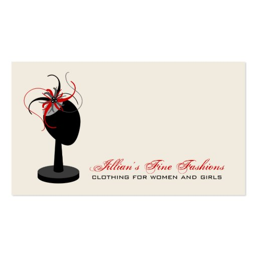 Fascinator Hat Stand Clothing Store Boutique Business Cards