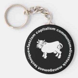 Fascism Capitalism Communism Livestock Management Basic Round Button Key Ring
