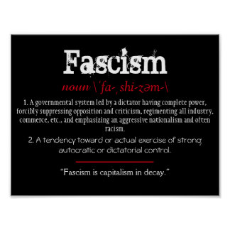 Fascism Definition Political Statement Red Poster