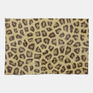 Fashinable leopard skin fluffy fur effect tea towel