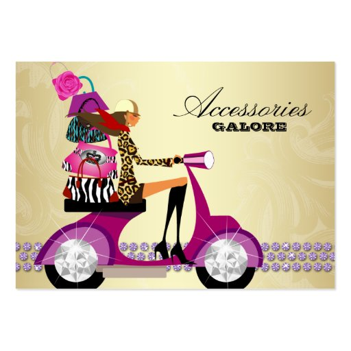 Fashion Accessories Purses Jewelry Purple Gold Business Card Templates