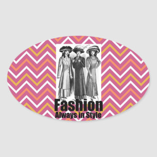 Fashion Always in Style 1900s Women on Chevron Oval Sticker