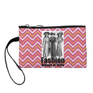 Fashion Always in Style 1900s Women Pink Chevron Coin Wallets