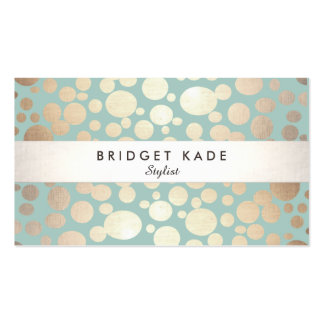 Fashion and Beauty Gold Turquoise Circle Pattern Pack Of Standard Business Cards