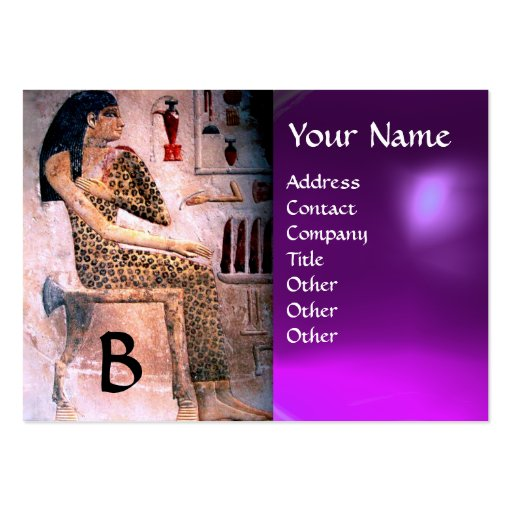 FASHION & BEAUTY OF ANTIQUE EGYPT MONOGRAM purple Business Card Template