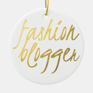 Fashion Blogger - Gold Script Christmas Ornament