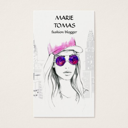 Fashion blogger social media. Illustration Business Card