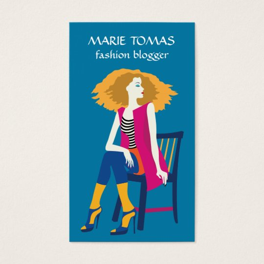 Fashion blogger social media. Pop art Business Card