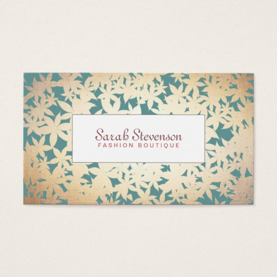 Fashion Boutique Gold and Teal Floral Pattern Business