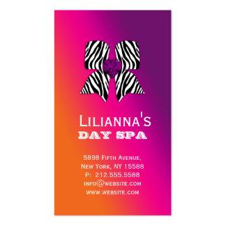 Fashion Business Card Bow Salon Spa Purple Orange