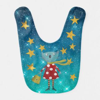 Fashion Cat Shiny Stars Stripes Gold Baby Bib