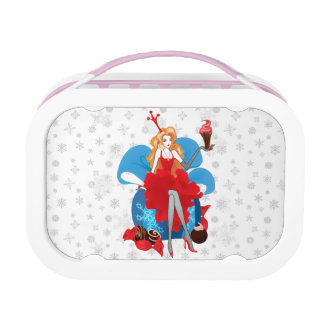 Fashion Christmas stylish red gray illustration Lunch Box