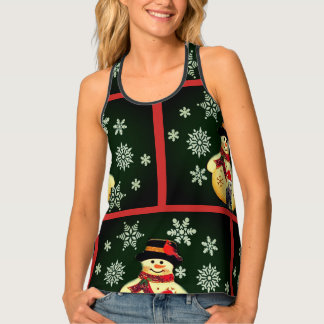 Fashion Christmas Tank Top with Snowman Pattern