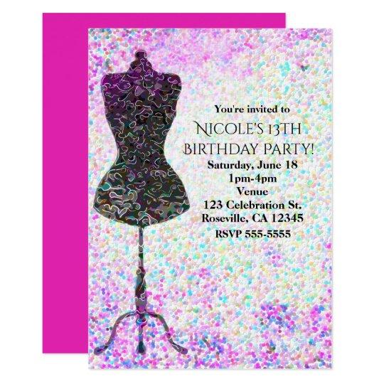 Fashion Confetti Mannequin Party Invitations