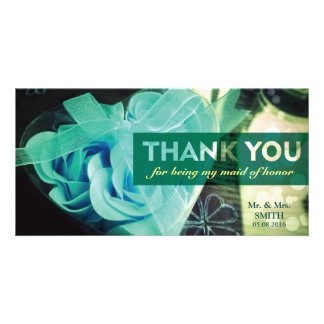 Fashion Cordate Rose Bridesmaid Thank You Card Personalised Photo Card